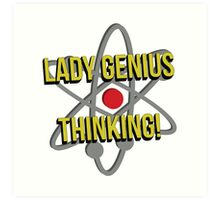 Lady Genius Thinking Art Print
