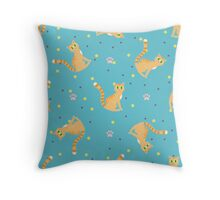 Red cats pattern Throw Pillow