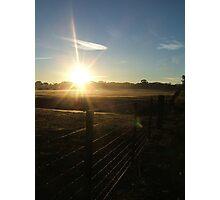 Sun Along A Farmers Fence Photographic Print