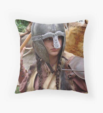 Dark Age Viking Warrior Woman Throw Pillow