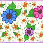 Whimsical Fantasy Flowers Postcard and Greeting Card by iceoriginals