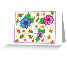 Whimsical Fantasy Flowers Postcard and Greeting Card Greeting Card