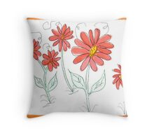 Whimsical Red Watercolor Daisies Throw Pillow