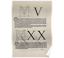 Measurement With Compass Line Leveling Albrecht Dürer or Durer 1525 0129 Alphabet Letters Calligraphy Font Poster