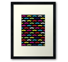 Colourful Moustache Pattern Framed Print