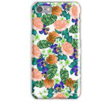 Trendy orange purple green tropical flowers  iPhone Case/Skin