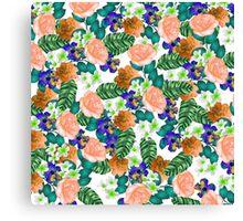 Trendy orange purple green tropical flowers  Canvas Print