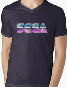 Sega Logo - Space Chrome Mens V-Neck T-Shirt