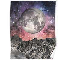 Moon Over Mountain Lake Poster