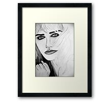Pictures of you - Blonde Female Portrait Drawing  Framed Print