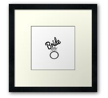 """Bride"" Typography and Diamond Ring Framed Print"