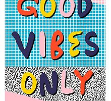 Check it - good vibes happy smiles fun modern memphis throwback art 1980's 80's 80s 1980s 1980 neon  by wackadesigns