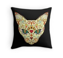 Calavera Cat Throw Pillow