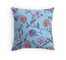 Blue Flora Throw Pillow