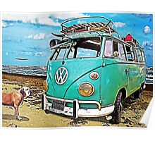 VW Surf Bus Strange Day at the Beach Poster