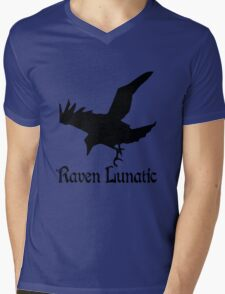 Raven lunatic geek funny nerd Mens V-Neck T-Shirt