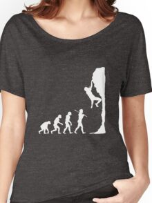 Rock climbing evolution geek funny nerd Women's Relaxed Fit T-Shirt