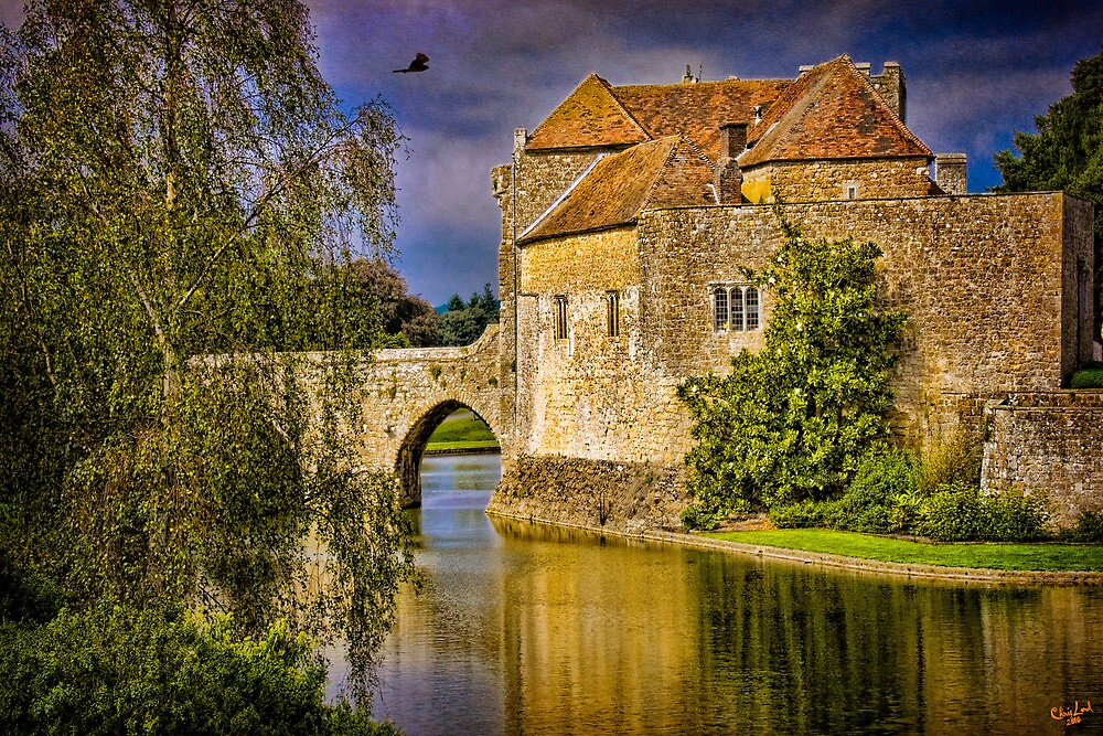 On the Moat At Leeds Castle by Chris Lord