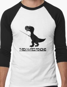T rex hates fencing light geek funny nerd Men's Baseball ¾ T-Shirt