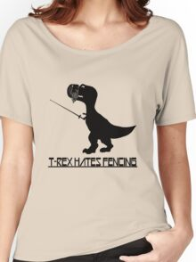 T rex hates fencing light geek funny nerd Women's Relaxed Fit T-Shirt