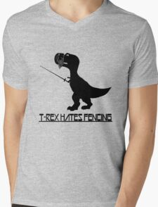 T rex hates fencing light geek funny nerd Mens V-Neck T-Shirt
