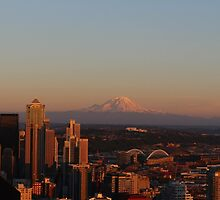 Mt. Rainier from Space Needle in Seattle, WA by southshorepics