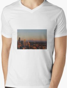 Mt. Rainier from Space Needle in Seattle, WA Mens V-Neck T-Shirt