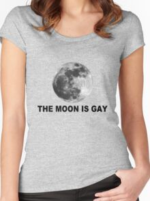 The moon is gay geek funny nerd Women's Fitted Scoop T-Shirt
