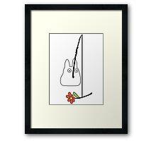 Small White Totoro Fishing - Outline Framed Print