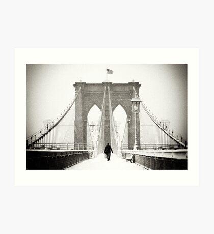 Brooklyn Bridge and Snow Art Print