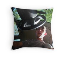 The Man in the Car with the Multi-Colored Lenses on His Hiking Boots Throw Pillow