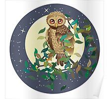 Owl and Moon Poster