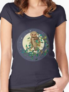 Owl and Moon Women's Fitted Scoop T-Shirt