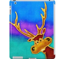 colourful cartoon Silly Stag looking in the window. iPad Case/Skin