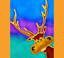 colourful cartoon Silly Stag looking in the window. Unisex T-Shirt