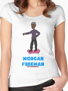 Morgan Freeman On A Hoverboard Women's Fitted Scoop T-Shirt