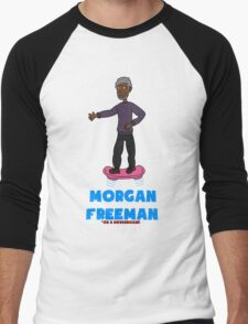 Morgan Freeman On A Hoverboard Men's Baseball ¾ T-Shirt