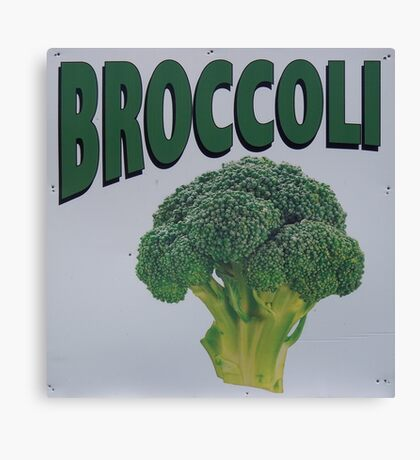 Old Farm Stand Sign Broccoli Canvas Print