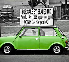 Parked Green Mini Cooper by Arjuna Ravikumar
