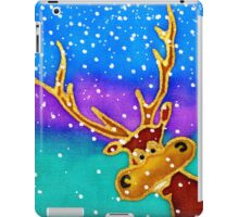 colourful cartoon Silly Stag in the snow. iPad Case/Skin