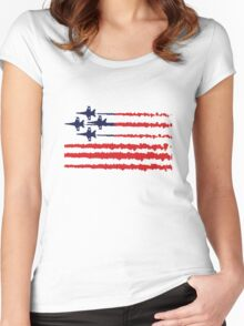 Usa flag blue angels diamond red white geek funny nerd Women's Fitted Scoop T-Shirt