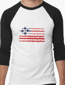 Usa flag blue angels diamond red white geek funny nerd Men's Baseball ¾ T-Shirt