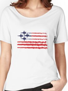 Usa flag blue angels diamond red white geek funny nerd Women's Relaxed Fit T-Shirt