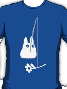 Small White Totoro Fishing - Two Colour T-Shirt