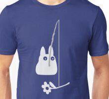 Small White Totoro Fishing - Two Colour Unisex T-Shirt