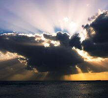 Sun Rays through the Clouds - Cocos (Keeling) Islands by Karen Willshaw