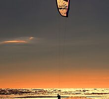 Kitesurfing at Ainsdale Beach by Roger Green