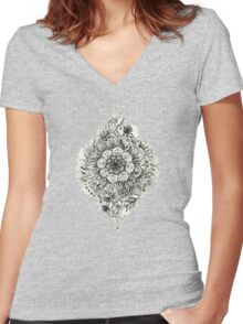 Messy Boho Floral in Charcoal and Cream  Women's Fitted V-Neck T-Shirt