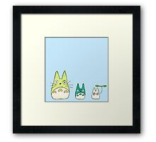 Simplistic Totoro Design in Blue and Green  Framed Print