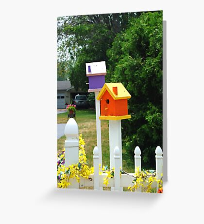 Multi-colored Bird Houses Greeting Card